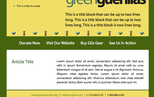 Green Guerillas eNewsletter Template