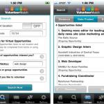 Screenshot of Search in VolunteerMatch iPhone App